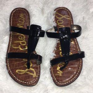 Sam Edelman Kira 7 faux patent black leather thong